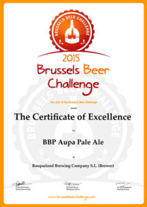 Certificate of Excellence @ Brussels Beer Challenge 2015 BBP Aupa pale ale