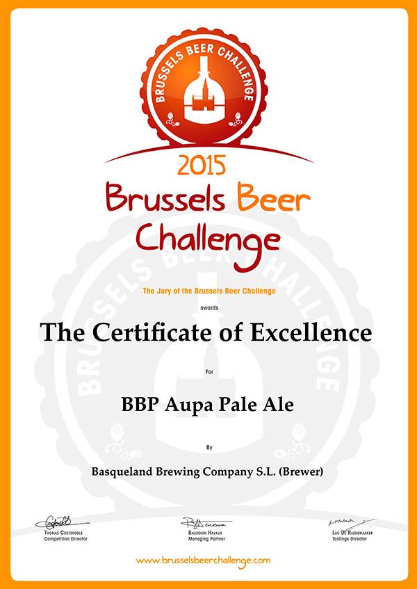 Certificado de Excelencia en el Brussels Beer Challenge 2015 Basqueland Aupa Pale Ale cerveza artesana
